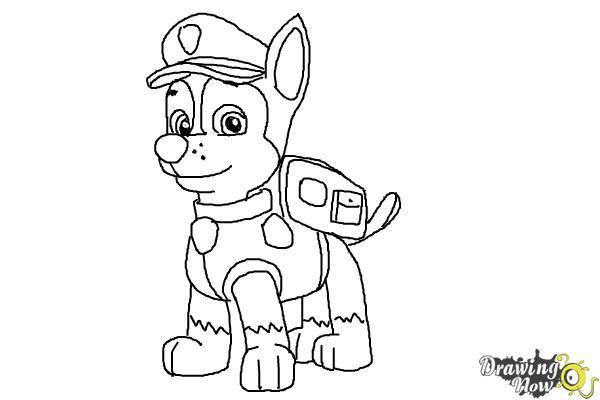 Нарисовать гонщика из щенячий патруль поэтапно